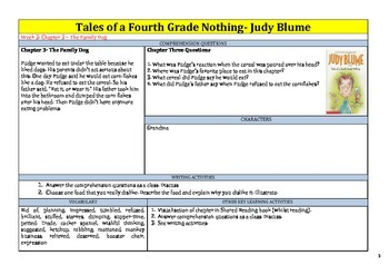 Tales of a Fourth Grade Nothing by Judy Blume Shared Reading Unit