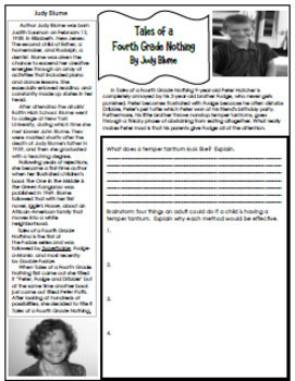 Tales of a Fourth Grade Nothing Novel Study, & Enrichment Project Menu