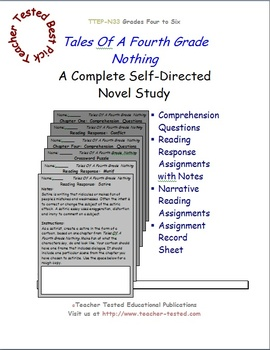 Tales of a Fourth Grade Nothing: A Complete Novel Study