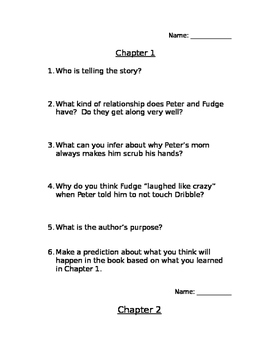 Tales of a Fourth Grade Nothing Book Study