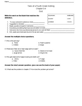 Tales of a Fourth Grade Nothing Chapter 3 & 4 Quiz