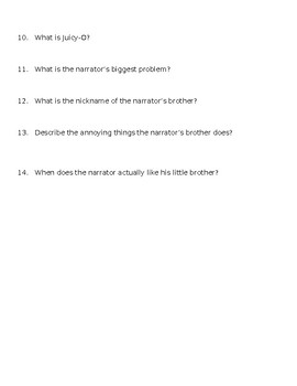 Tales of a Fourth Grade Nothing Chapter Comprehension Questions