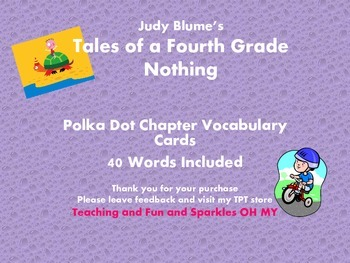Tales of a Fourth Grade Nothing Chapter Polka Dot Vocabulary Cards