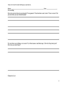 Tales of a Fourth Grade Nothing Chapter Questions