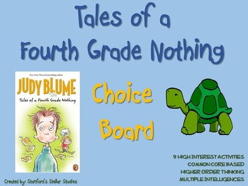 Tales of a Fourth Grade Nothing Choice Board Novel Study Activities Book Project