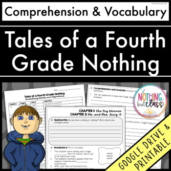 Tales of a Fourth Grade Nothing: Comprehension and Vocabulary by chapter