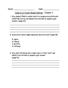 Tales of a Fourth Grade Nothing Comprehension Questions  C