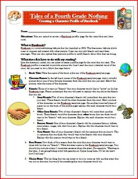 Tales of a Fourth Grade Nothing Facebook Reading Activity