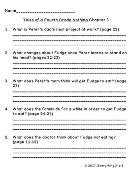 Tales of a Fourth Grade Nothing Level Q Guided Reading Comprehension Questions