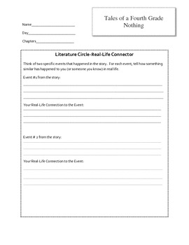 Tales of a Fourth Grade Nothing Literature Circles Packet