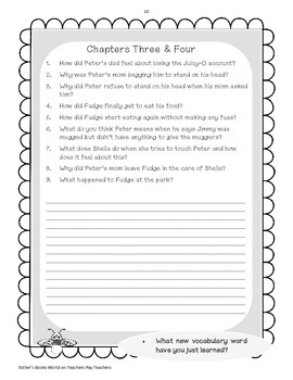 Tales of a Fourth Grade Nothing Novel Study Packet