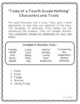 Tales of a Fourth Grade Nothing Novel Unit Study Activities, Book Companion