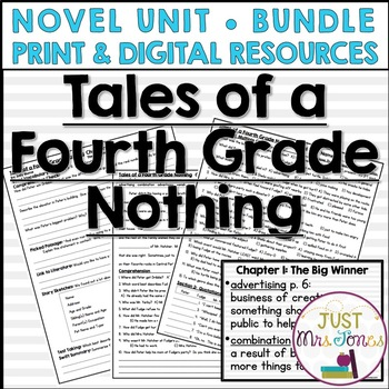 Tales of a Fourth Grade Nothing Novel Unit