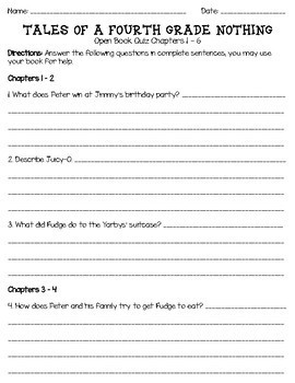 Tales of a Fourth Grade Nothing Open Book Quiz (Chapters 1 - 6)