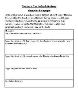 Tales of a Fourth Grade Nothing Opinion Paragraph