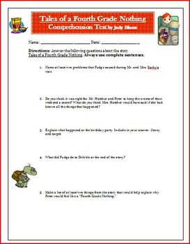 Tales of a Fourth Grade Nothing Reading Novel Quiz