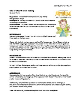 Tales of a Fourth Grade Nothing Reading LP + Student Work Packet - Level Q