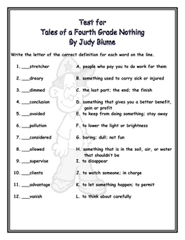 Tales of a Fourth Grade Nothing - Test