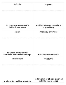 Tales of a Fourth Grade Nothing Vocabulary Bingo