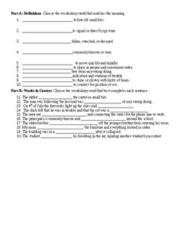 Tales of a Fourth Grade Nothing Vocabulary Test
