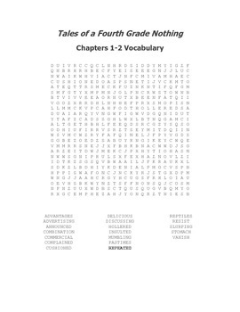 Tales of a Fourth Grade Nothing Vocabulary Word Search for Ch. 1-2