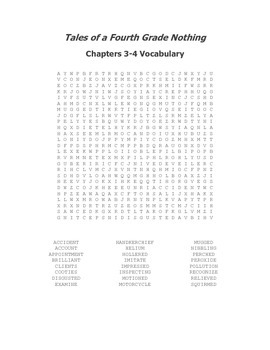Tales of a Fourth Grade Nothing Vocabulary Word Search for Ch. 3-4