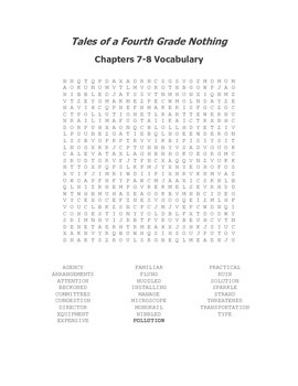 Tales of a Fourth Grade Nothing Vocabulary Word Search for Ch. 7-8