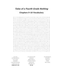 Tales of a Fourth Grade Nothing Vocabulary Word Search for Ch. 9-10
