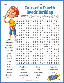 Tales of a Fourth Grade Nothing Word Search