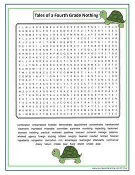 Tales of a Fourth Grade Nothing Word Search & Sort
