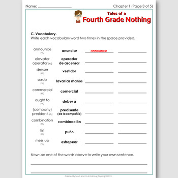 Tales of a Fourth Grade Nothing, an English Novel Study for Spanish Speakers