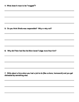 Tales of a Fourth Grade Nothing by Judy Blume- Comprehension Questions