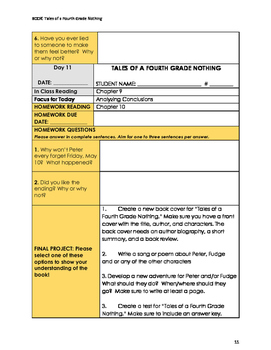 Tales of a Fourth Grade Nothing by Judy Blume Guided Reading Plan