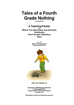 Tales of a Fourth Grade. . .   Prereading/Vocabulary/Short Answer