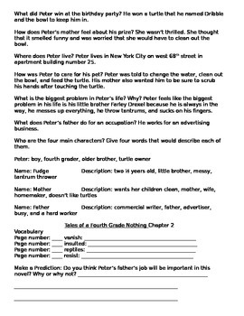 Tales of the Fourth Grade Nothing Reading Group Questions and Vocabulary