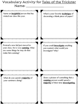 Tales of the Trickster Comprehension/Vocabulary Activity