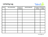 Tales2Go Listening Minutes Log