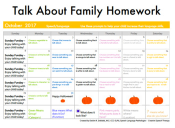Talk About Monthly Speech Language Homework Calendars