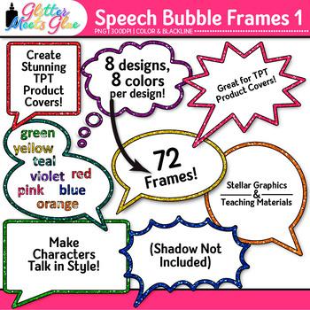 Speech Bubble Frame Clip Art {Rainbow Chalkboard Labels for Resources} 1