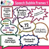 Speech Bubble Frame Clip Art | Rainbow Chalkboard Labels for Resources 1