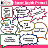 Speech Bubble Frame Clip Art: Rainbow Chalkboard Labels 1