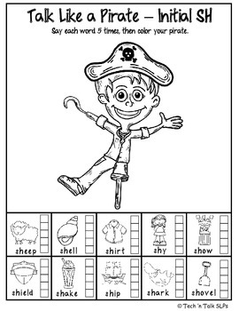 Talk Like A Pirate, Color & Say - Part 2:  SH, CH, TH, K