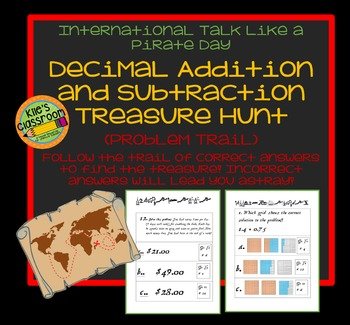 Talk Like A Pirate Day Problem Trail Treasure Hunt- Add and Subtract Decimals