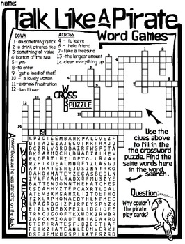 Talk Like A Pirate Worksheet - Word Search Crossword by ...