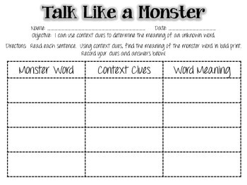 Talk Like a Monster - a Context Clues Activity