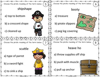 Talk Like a Pirate Dictionary Skills Task Cards