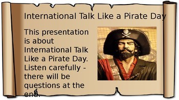 Talk Like a Pirate Day 2017 – Presentation, Lesson, Activity, Quiz