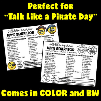 Talk Like a Pirate Day Activities (Talk Like a Pirate Name Generator)