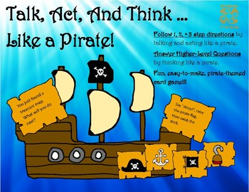 Talk Like a Pirate Day! Talk, Act, and Think Card Game! Speech and Language