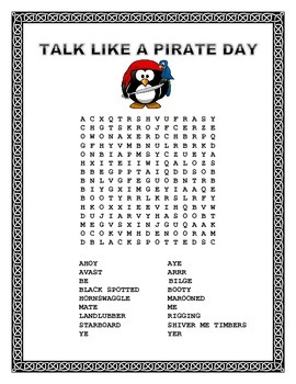 Talk Like a Pirate Day -Word Search